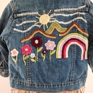 🌼🌈Embroidered denim jacket sz 18-24m🌞🌺